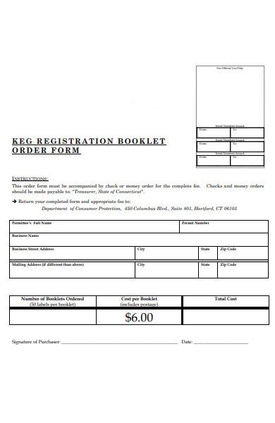 registration booklet order form