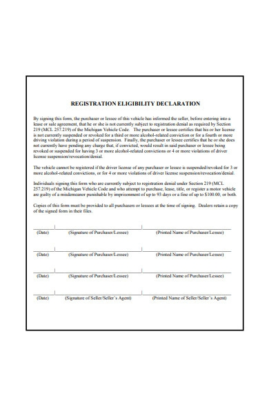registration declaration form