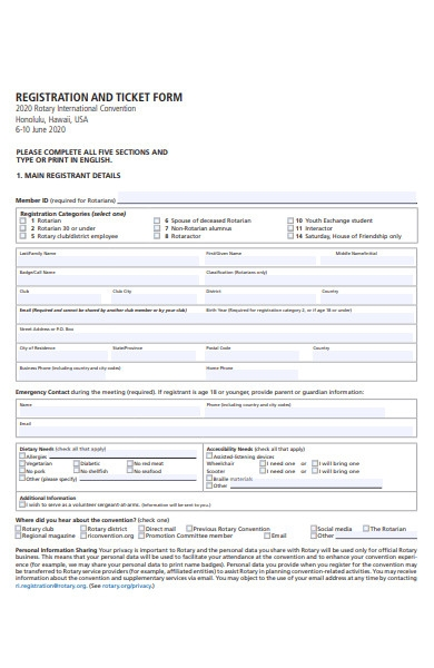 Free 52  Registration Forms In Pdf
