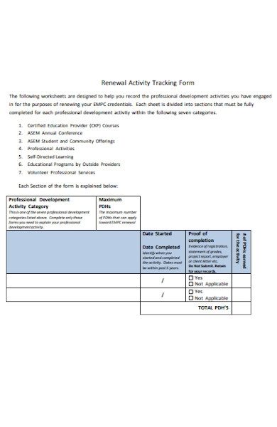 renewal activity tracking forms