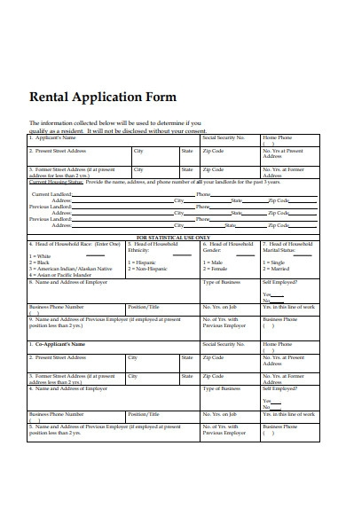 rental application form sample