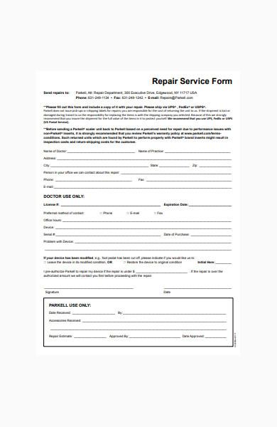 repair service form