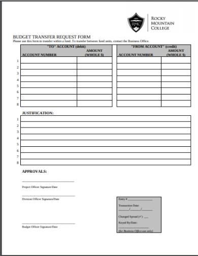 request for budget transfer form