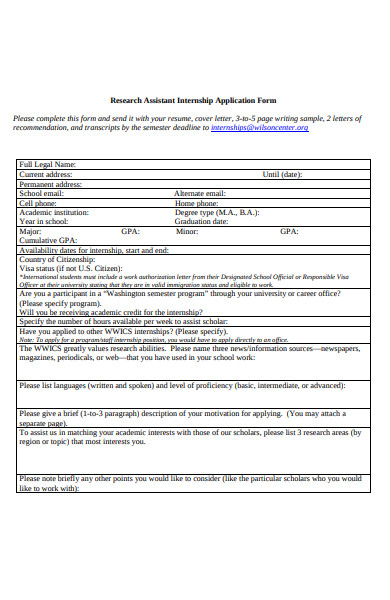 research assistant internship application form