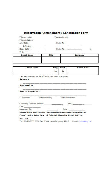 reservation cancellation form