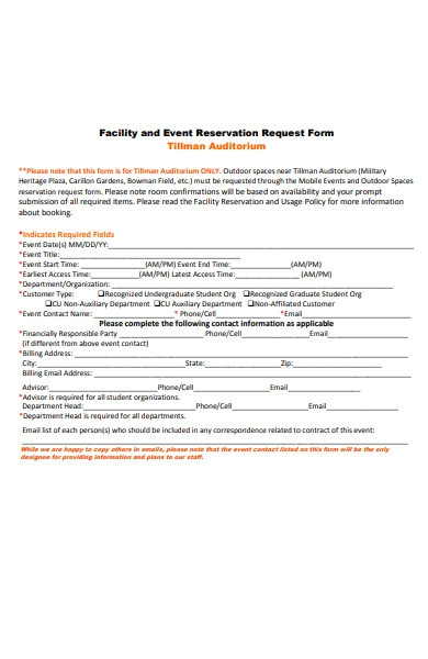 reservation request form
