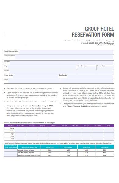 reservation short form