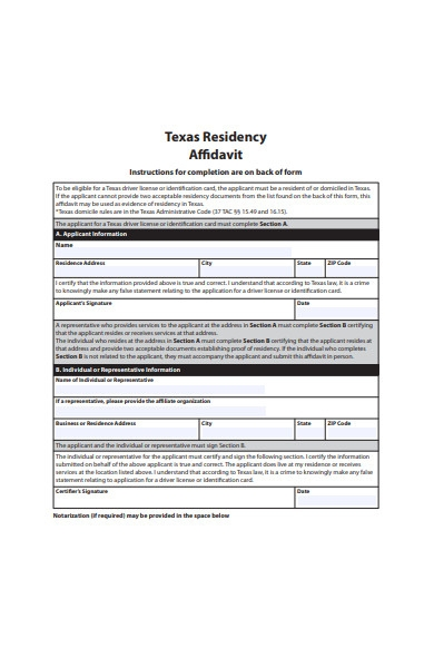 residency affidavit form1