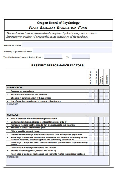 resident evaluation form
