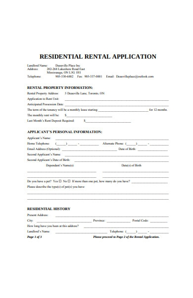 residential rental application form template