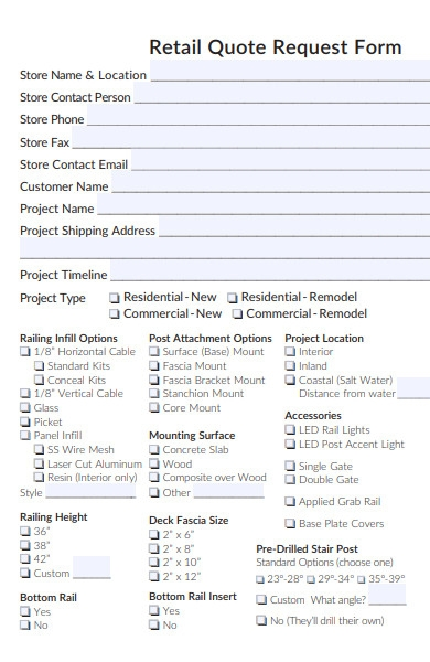retail quote request form