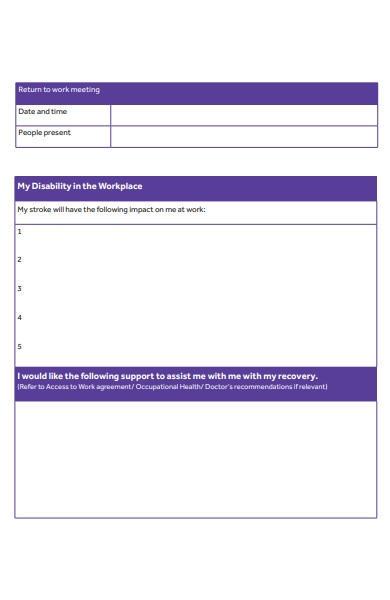 return to work association form
