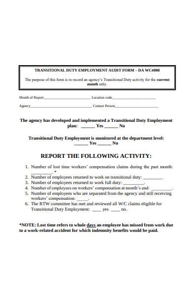 return to work audit form