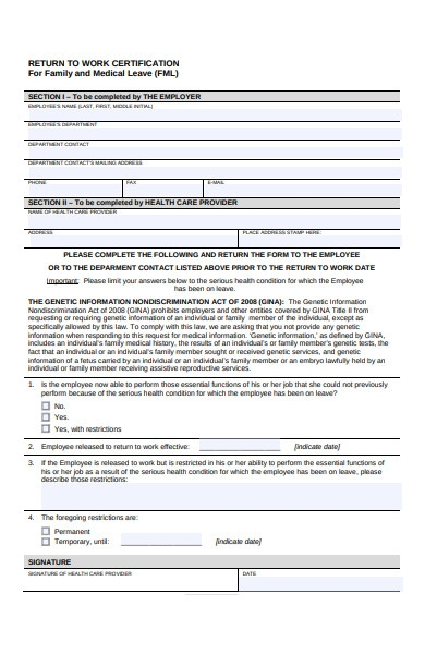 return to work certification for family form
