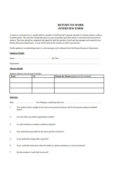 return to work employee details form