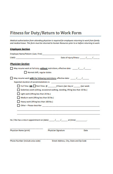 return to work fitness form