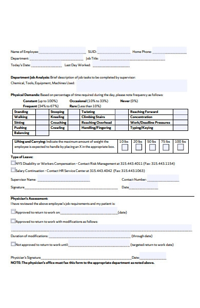 return to work for staff form