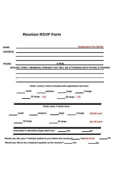 reunion rsvp form