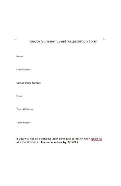 rugby summer event registration form