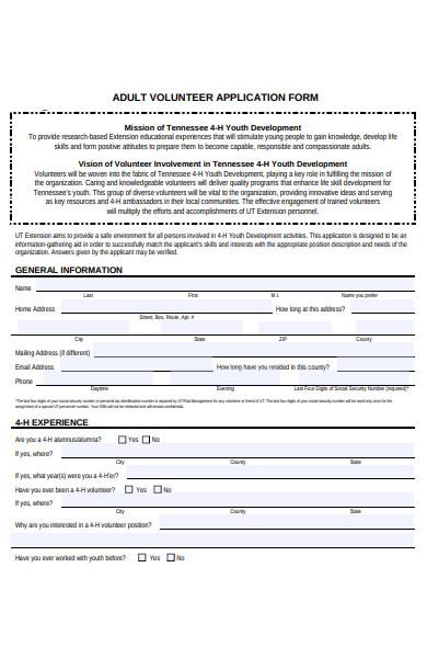 sample adult volunteer application form