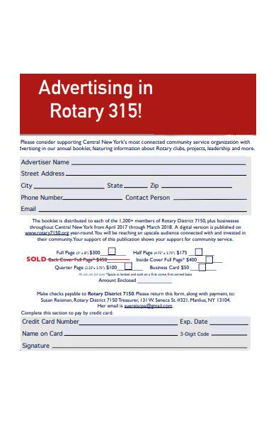 sample advertising form