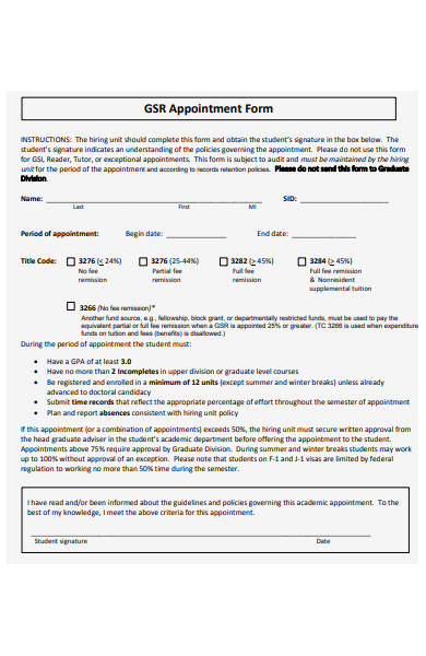 sample appointment form
