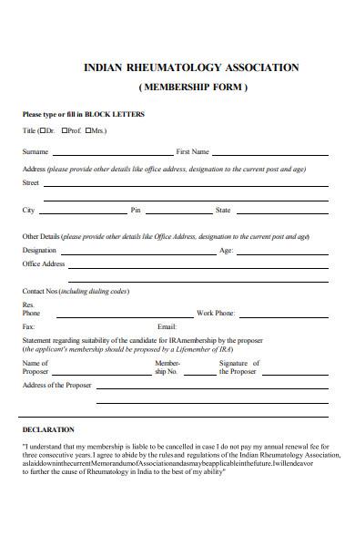 sample association membership form