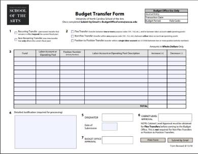 sample budget transfer form