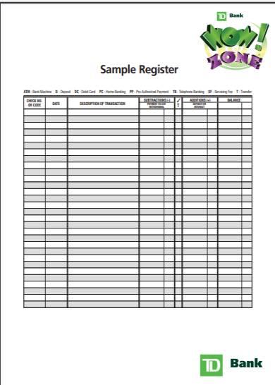 sample checkbook register form