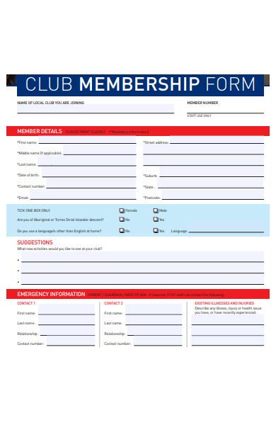 sample club membership form
