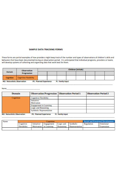 sample data tracking forms