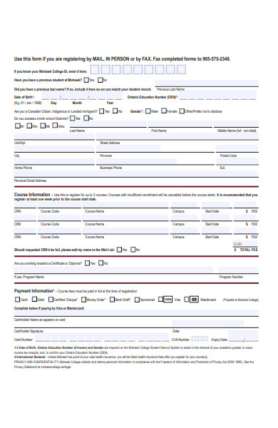 sample education registration form