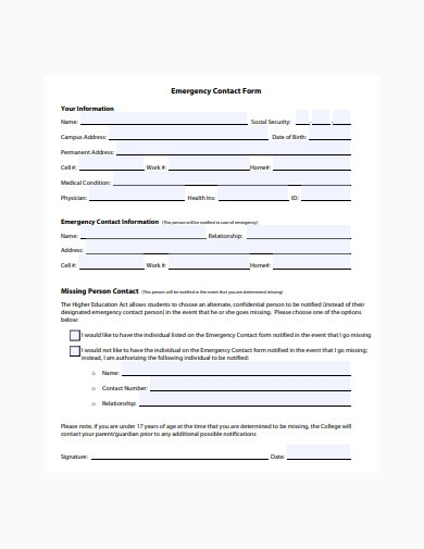 sample emergency contact form