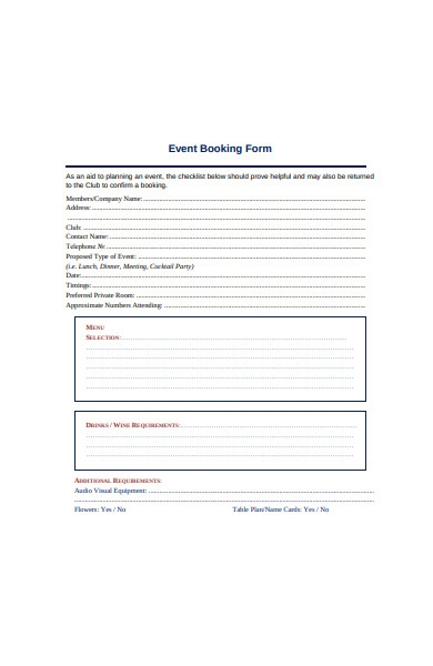 sample event booking form in pdf