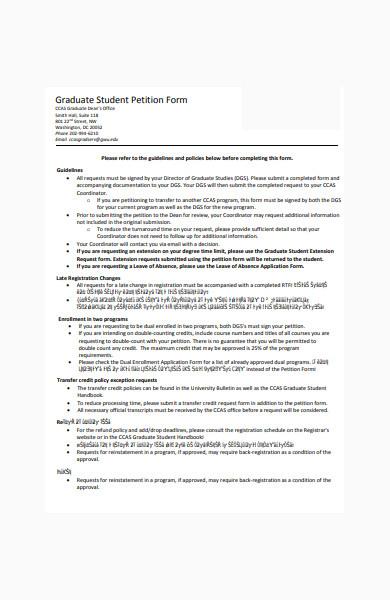 sample graduate student petition form