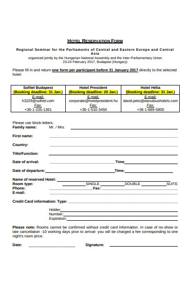 Free 32 Hotel Booking Forms In Pdf Ms Word Excel