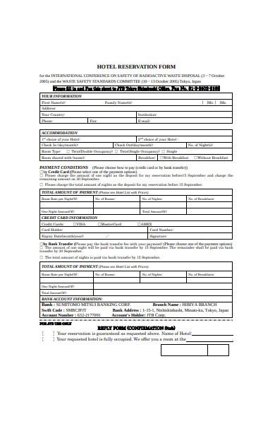 sample hotel reservation form