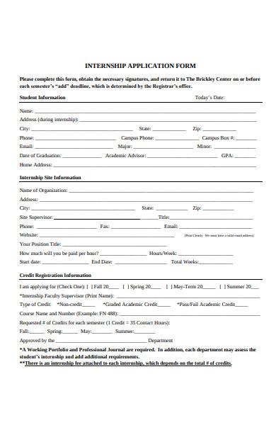 sample internship application form