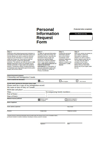 sample personal information request form