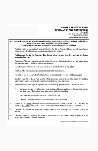 sample petition form