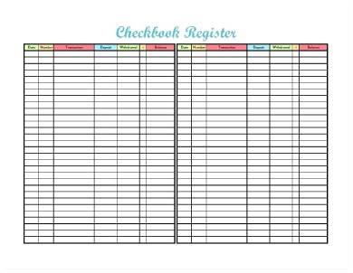 sample printable check register form