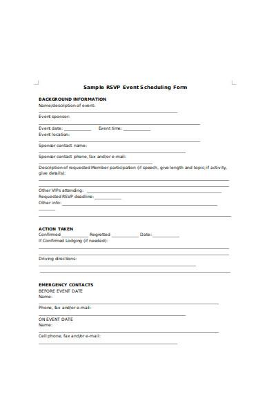 sample rsvp event scheduling form
