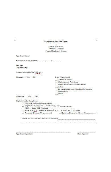 sample registration form