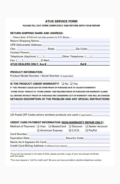 sample service form