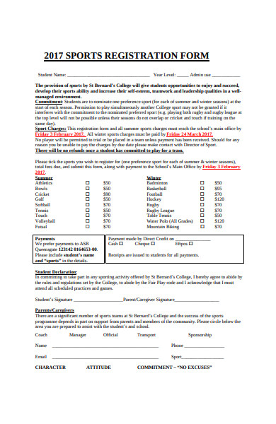 sample sports registration form