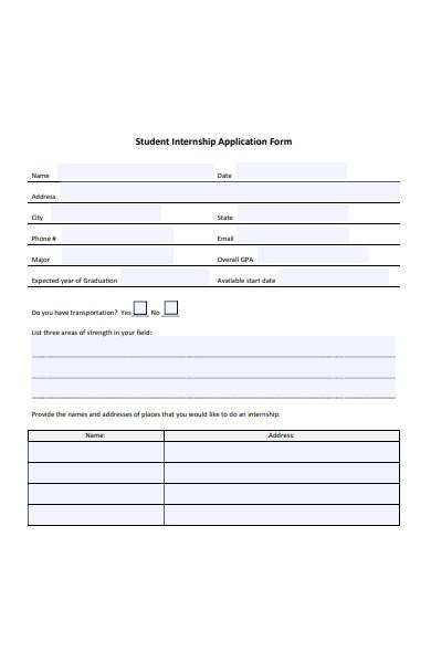 sample student internship application form