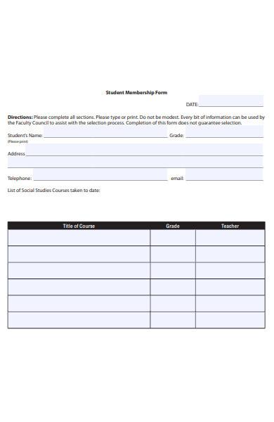 sample student membership form