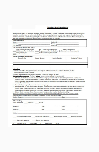 sample student petition form