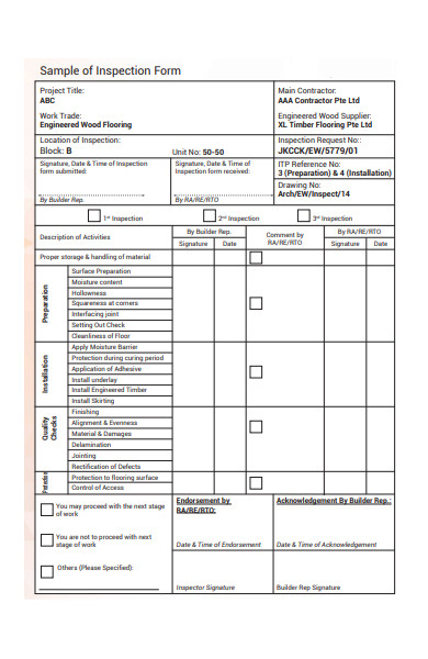 sample of inspection form