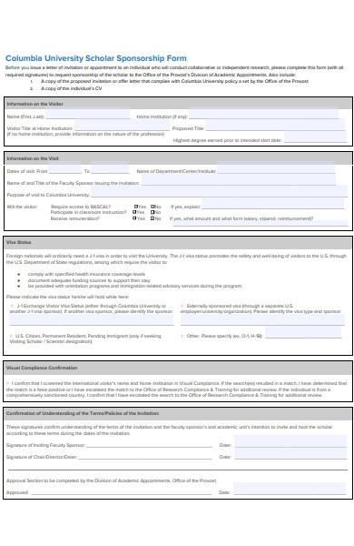 scholar sponsorship form